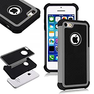 Grey Anti-Shock Hybrid Rugged Rubber PC Hard Back Case Cover Skin for Apple iPhone 5C