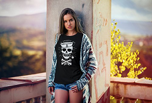 Neverless Damen T-Shirt A Smooth Sea Never Made Skilled Sailor Skull Totenkopf Seemann Slim Fit Schwarz
