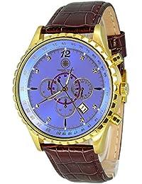 Constantin Durmont Herren-Armbanduhr XL Aerotec Chronograph Quarz Leder CD-AERO-QZ-LT-GDGD-BLD