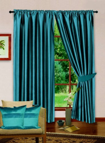 Kunstseide Bleistiftfalten blau 167,6x 228,6cm Moderne Luxus Gefütterte Vorhänge Plus Raffhaltern (Rebecca Vorhänge)