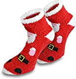 Damen Kuschelsocken mit Weihnachtsmann Motiv