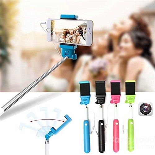 mark8shop Handheld Wire Fernbedienung Einbeinstativ Selfie Stick mit Tasche für iPhone 5C 55S 66Plus und andere Handy -