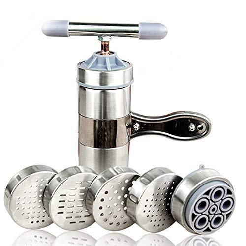Romdink Manuelle Nudelmaschine aus Edelstahl, Nudelhersteller Nudelpresse Nudelmaschine mit 5 Werkzeugen
