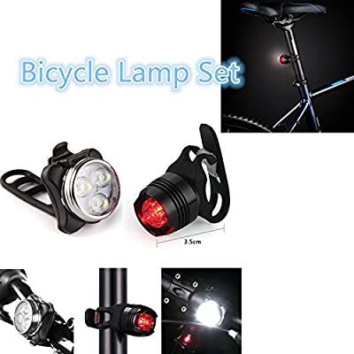 USB wiederaufladbarer Fahrrad-Beleuchtungsset, superhelles LED-Fahrrad-Lichtset vorne und hinten, 3 Leuchtmodus-Optionen, wasserdicht, passend für alle Fahrräder, am Rucksack befestigt, Helm, Jacke