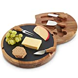 VonShef Cheese Boards with Knives Sets - Bamboo, Slate, Slide-Out Drawers, Specialist Knife Sets - Gifts for Him Or Her