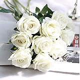2pcs flores artificiales, artificiales ramo de novia rosas dalias flores artificiales tombent Vif falso hoja flor de boda Bouquets de novia decoración, rosa