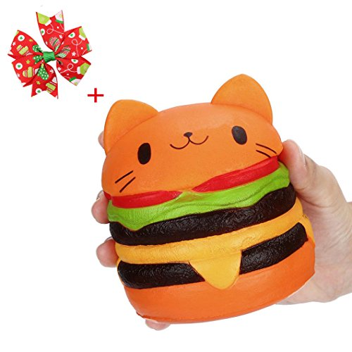 Jimmackey Gatto Amburgo Antistress Squishy Slow Rising Giocattolo 11cm*6cm Amburgo Antistress Squishy Slow Rising Giocattolo 11cm*6cm