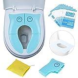 Riduttore Pieghevole Water Bambini da Viaggio, Portatile Per WC, Copertura Igienica Monouso, Confezione 10 Pezzi (Blu, Gufo)