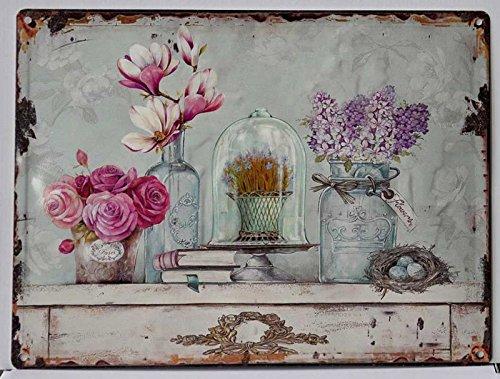 DiKasa 17-HG6834 Quadro Pannello Shabby Vasi Fiori, Metallo, Multicolore, 40x1x30 cm