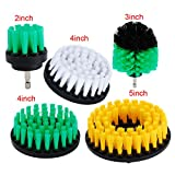"""OxoxO 5PCS 2"""" 3"""" 4"""" 5"""" Drill Brush Medium Soft Bristle Scrub Attachments Cleaning Kit for Grout Carpet Tires Boats Kitchen Bathroom Shower Tile"""