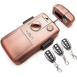 Cerradura electronica Inteligente invisible con 3 mandos RC LOCK. Color bronce.