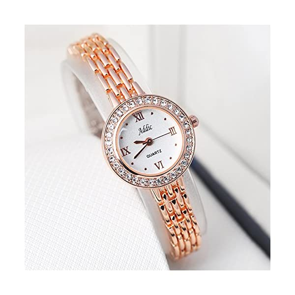 Addic Analogue White Dial Stone Studded Rosegold Watch For Womens & Girls