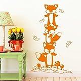 Wandtattoo: Drei süße Füchse im Wald / 49 Farben / 4 Größen / orange / 55 x 89 cm