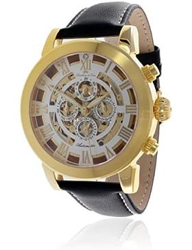 Lindberg&Sons Herren-Armbanduhr mit einem echten Diamanten - Analog Automatik Lederarmband Schwarz G13103