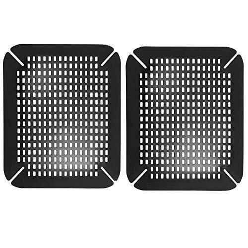 mDesign 2er-Set Spülbeckeneinlage - praktisch einstellbare Waschbeckenmatte aus Silikon - gepolsterte Spülbeckenmatte für das Spülbecken und als Geschirrablage - schwarz