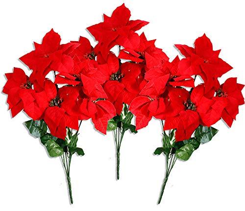 Vetrineinrete® stella di natale rossa confezione da 3 steli 15 fiori decorazione natalizia addobbi per la casa decorazione fiori finti 6918