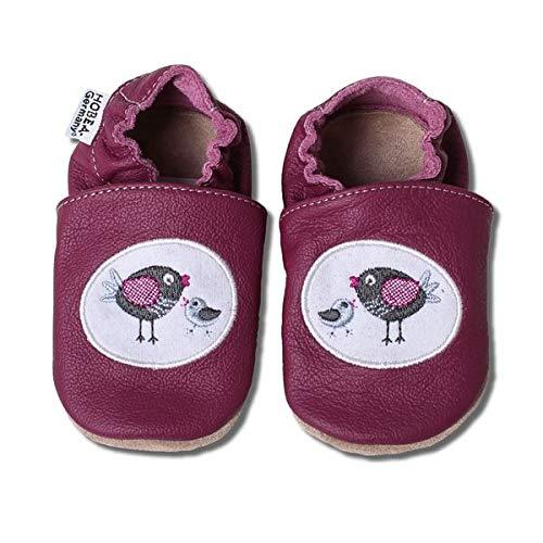 HOBEA-Germany bestickte Krabbelschuhe in verschiedenen Designs, Größe Schuhe:16/17 (0-6 Mon), bestickte Motive:Vogelfamilie