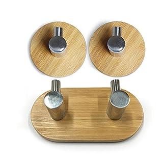 Acxeon 3 Stück Adhesive Haken mit 3M Haftmittel bis zu 3 Kg Tragkraft, aus SUS304 Edelstahl und Bambus für Badezimmer Handtuchhaken, Wandhaken Kleiderbügel für Home Küche Mäntel Hüte Schlüssel (2+1)