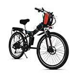 26' 21 Speed, 48V 240W 12AH Lithium Battery Mountain Bike, Folding Electric Bicycle, Electric Bike, MTB E Bike With Magnetic Ring Power Sensor (BLACK)