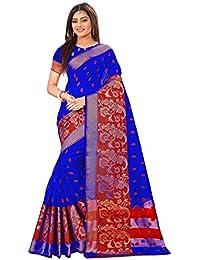 Ecolors Fab Women's Cotton Saree With Blouse Piece (Blue)