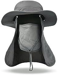 Vbiger Large Bord Chapeau Pêche Bonnie Chapeau de Soleil avec Col Amovible Visage Masque pour Femmes Hommes