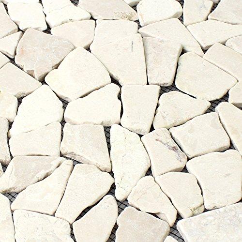 Naturstein Fliesen Marmor Bruch Biancone | Wandfliesen | Mosaik-Fliesen | Bruch-Mosaik | Naturstein | Ideal für die Küche und Badezimmer -
