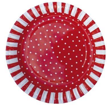 JaBaDaBaDo Partyteller, schwedisches Design, Sortiment Rottöne (Pappteller Und Weiße Rote)