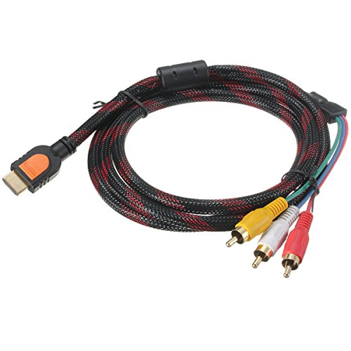 5FT/1.5M HDMI to 3 RCA AV Audio Video Cable Cord Adapter for TV HDTV DVD 1080P (Für Lcd-tv Cable Plug Cord)