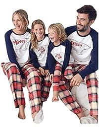JEELINBORE Pijamas Navidad Familia Conjunto Pantalon y Top Fiesta Manga Larga Trajes Navideños Ropa de Dormir para Bebés Mamá Papá
