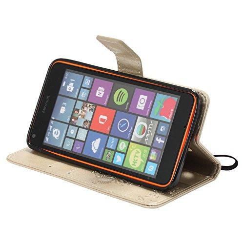 pour Coque Cuir Microsoft Lumia 640 Nokia N640, étui en cuir PU Cuir Flip Magnétique Portefeuille Fermeture Aimantée de Motif Imprimé Étui Housse en Cuir Ultra-mince Avec La Stand Fonction Stand pour Microsoft Lumia 640 Nokia N640 +Bouchons de poussière (4TT)