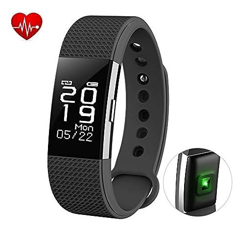 Fitness Tracker Herzfrequenz Monitor Touch Bildschirm Tätigkeit Schrittzähler mit wasserdicht Smart Handgelenk und Sleep Monitor Smart Armband für Andorid und iOS, bhtsmart F2, schwarz