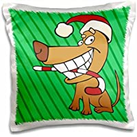 TNMGraphics Christmas - Santa Dog With Candy Cane - 16x16 inch Pillow Case