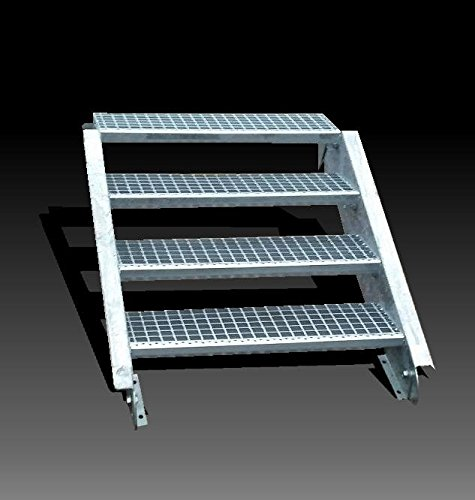 4-stufige Stahltreppe / Stufenbreite 80 cm / Geschosshöhe 55-85 cm / Inklusive Treppenwangen aus U-Profil + Gitterrost-Treppenstufen + Schrauben, Muttern / Wangentreppe Außentreppe Industrietreppe Stufen