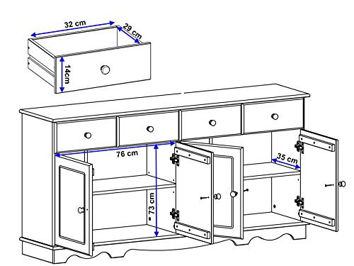 Sideboard, Holztür, Kiefer massiv, gebeizt geölt, havanna, weiß, Holzgriff, 4 Schubladen, T153 x B35 (weiß) - 2