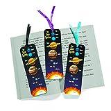 cama24com Weltraum Planeten Lesezeichen Space Kindergeburtstag Mitgebsel Weltall 12 Stück mit Palandi® Sticker