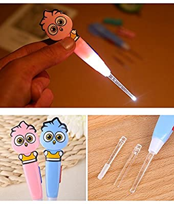 (2 pcs) LED light ear pick spoon curette ear wax remover , LED ear pick , Flashlight Ear wax cleaner , ear wax removal