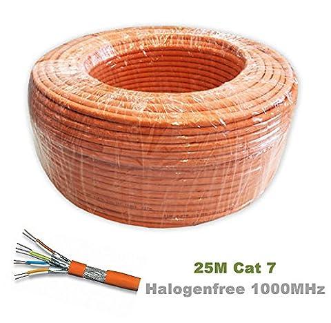 TDA - 25.0M - Cat 7 Reel - Ethernet Cable, Halogen Free 1000 MHz / Copper / Super Fast Network Cable - (PoE)/PoE + ( Orange )