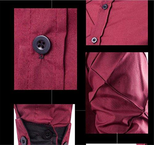 SHUNLIU Herren hemd Slim Fit Shirt Hemd Herrenhemd Langarm Kontrast Knopfleiste Rot
