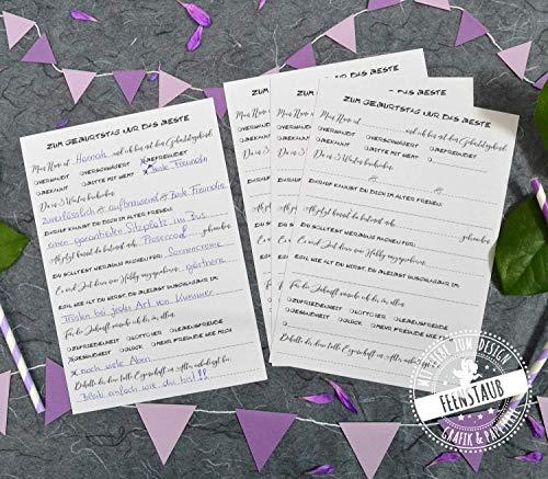 Gästebuch-Karten zum Geburtstag mit witzige lustige Fragen an Gäste zum Ausfüllen, Geschenk-Idee (Für Geburtstagsparty Ideen)