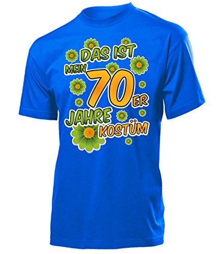 70er Jahre Kostüm Herren T-Shirt Mann Motto Schlager Party 4523 Karneval Fasching Faschings Karnevals Paar Gruppen Outfit Klamotten Oberteil Blau ()
