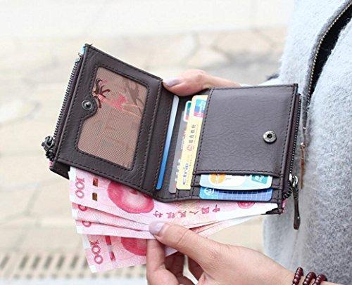 Ylen Donna Portafoglio Corto con Cerniera Sacchetto Borsa della Moneta Signore Borsetta Titolare Della Carta Volpe
