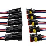 Qiorange 3 broche voiture de façon automatique étanche connecteur électrique kit de prise de courant avec du fil AWG de calibre marin (3 Broches 5Pcs)