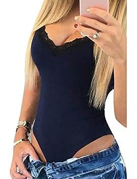 Body elástico de las mujeres sin mangas Top de las señoras con cuello en v Leotardo Bodycon Rompers Jumpsuit Highdas