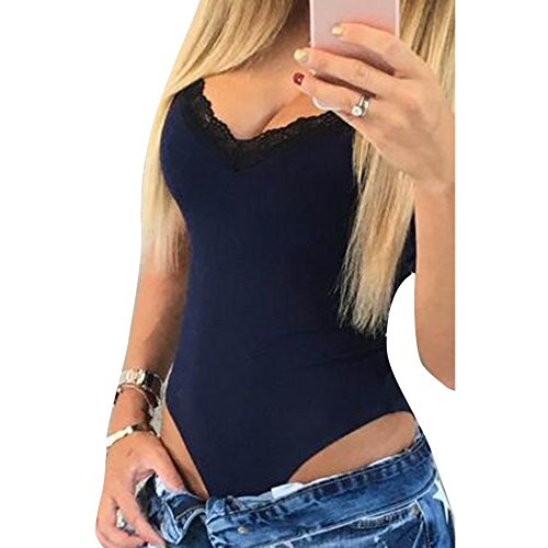 Femmes Stretch Body sans manches Top Ladies V-cou justaucorps Bodycon  Rompers Jumpsuit Highdas acec84e14a1