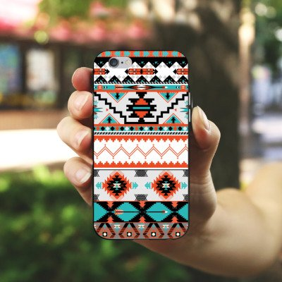 Apple iPhone X Silikon Hülle Case Schutzhülle Ethno Azteken Muster Silikon Case schwarz / weiß