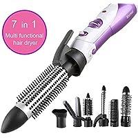 Set de cepillos de aire caliente 7 en 1 Rizador de pelo Varita Secador de cabello Blow Estilete multifuncional.