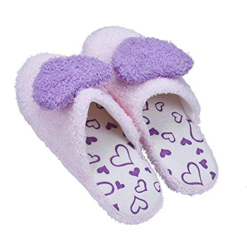 Pantofole Donna Invernali,Amlaiworld Amore cuore forma morbide pantofole Viola