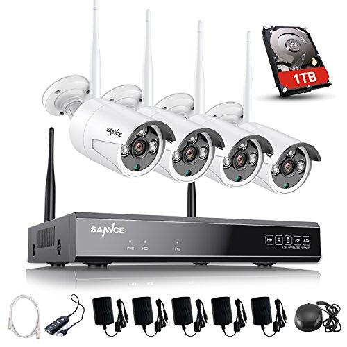 SANNCE Kit de Videovigilancia Inalámbrica 1080P NVR wifi y 4 Cámaras de seguridad (Onvif H.264 CCTV 4CH NVR y 4 cámaras 1.0MP)-1TB disco duro de vigilancia