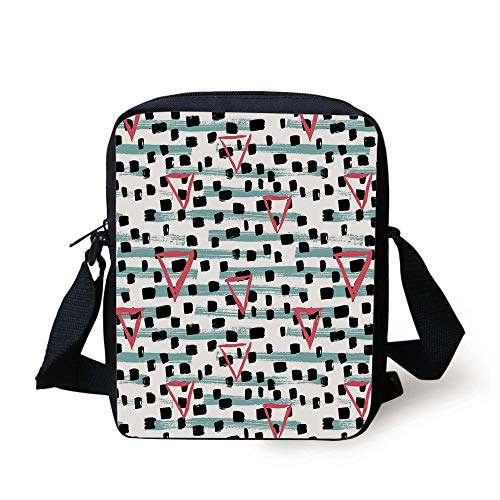 Geometric,Paint Brush Effect Backdrop with Black Dots and Triangles Retro Motifs,Seafoam Coral Black Print Kids Crossbody Messenger Bag Purse (Guns Paint Ball Pink)