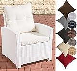 CLP Poly-Rattan Garten Sessel FISOLO mit Armlehnen, Gartenstuhl, Dining Sessel mit robustem Aluminium Gestell, inkl. Sitzkissen, 25 Farbvarianten Rattan Farbe: weiß, Bezugfarbe: Cremeweiss